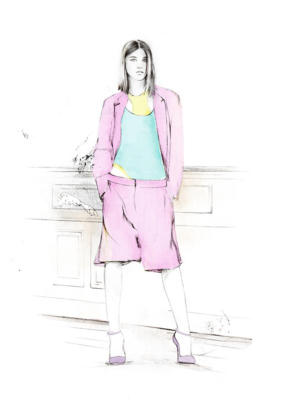 Iustración de Spiros Halaris modelo DKNY para la revista Glamour