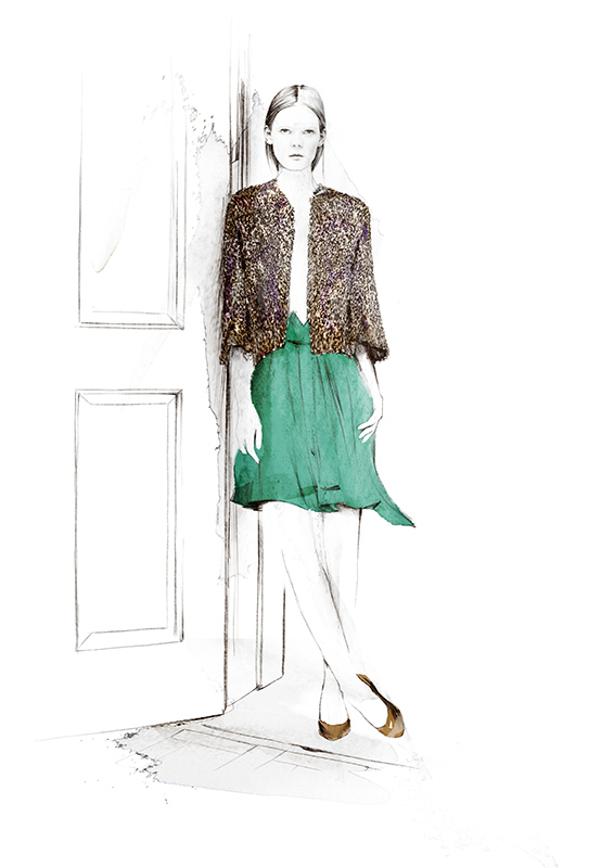 Iustración Spiros Halaris modelo YSL revista Glamour