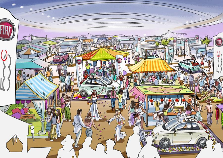 Ilustración del ilustrador Eduardo Simón fiat Cinquecento Mercado Dalias
