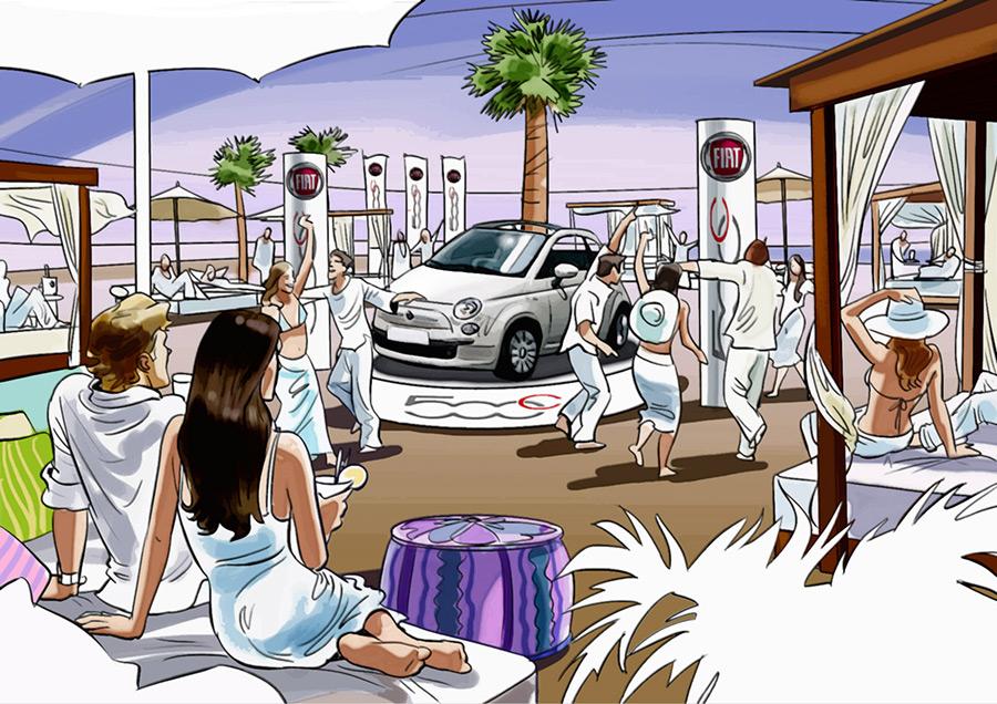 Ilustración del ilustrador Eduardo Simón fiat Cinquecento Nikki Beach