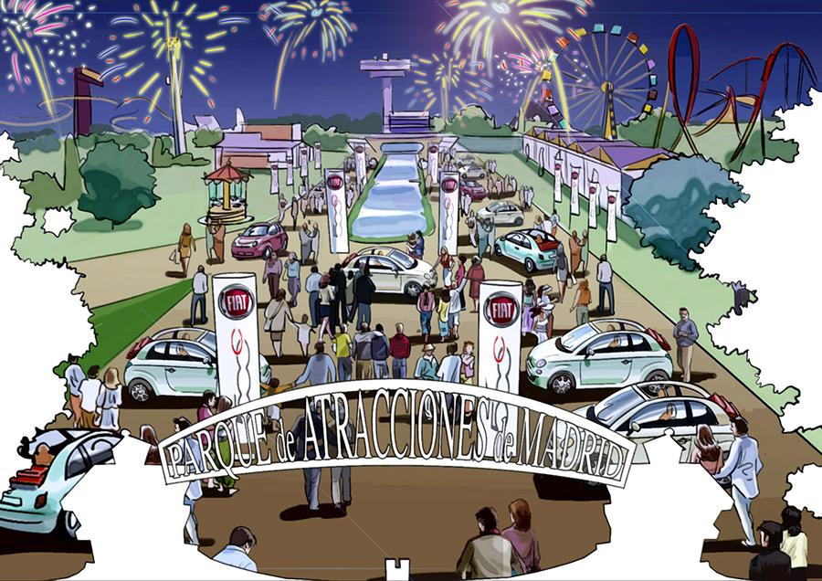 Ilustración del ilustrador Eduardo Simón fiat Cinquecento Parque de Atracciones