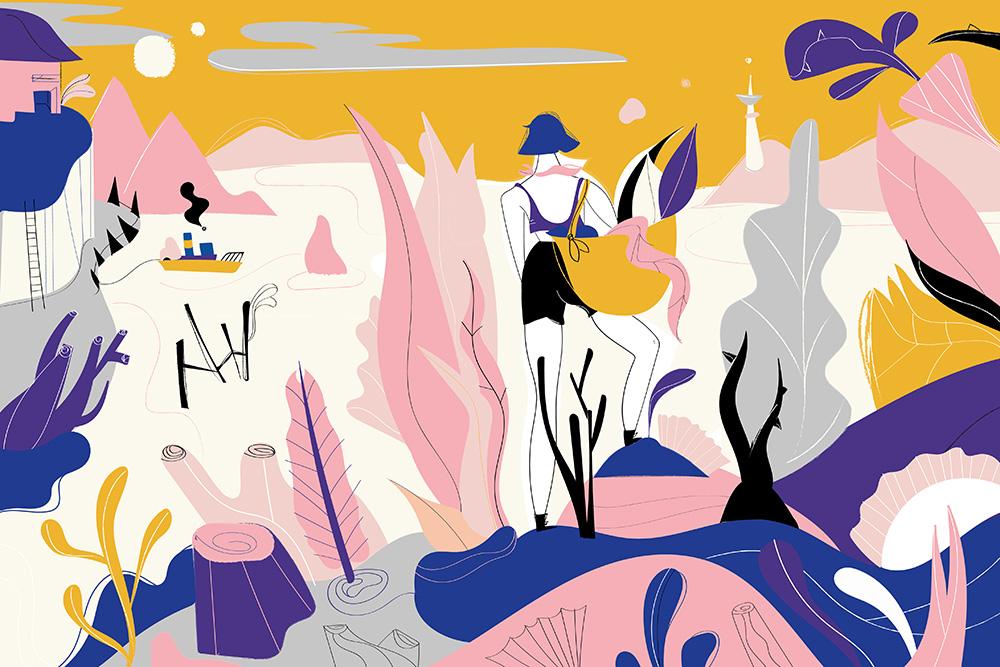 Ilustradora Carolina Altavilla. Forest mushrooms trip island