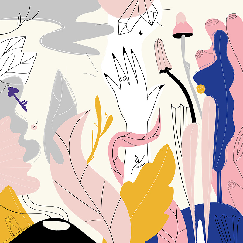 Ilustradora Carolina Altavilla. Hand empowerment wish incantation key