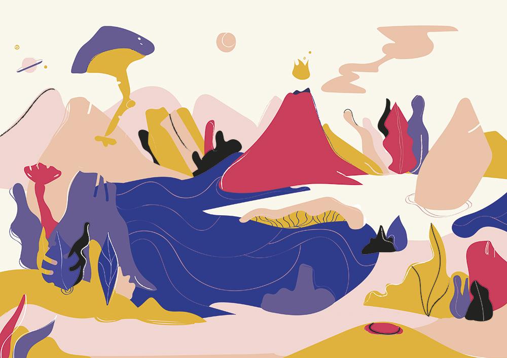 Ilustradora Carolina Altavilla. Island mountains landscape universe