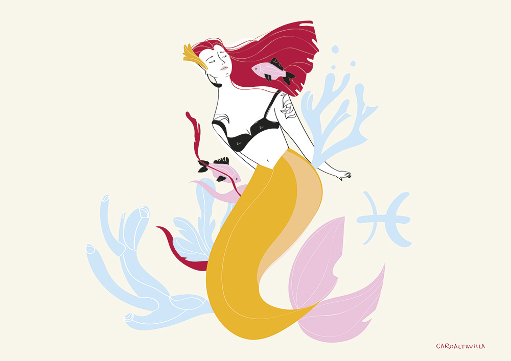 Ilustradora Carolina Altavilla. Mermaid astrology pisces zodiac