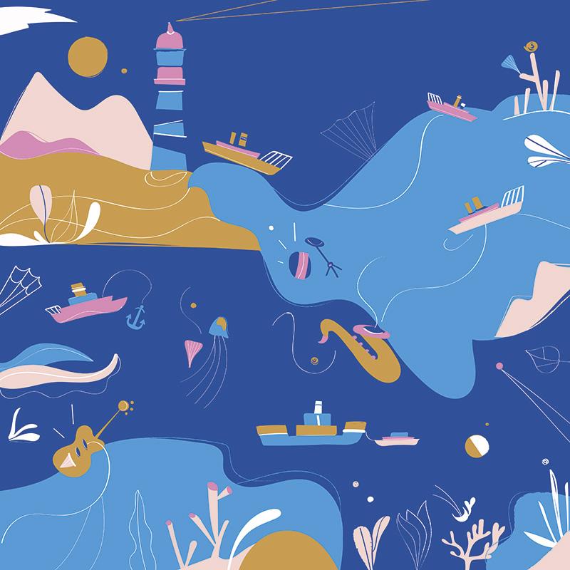 Ilustradora Carolina Altavilla. Ocean beach trip ship