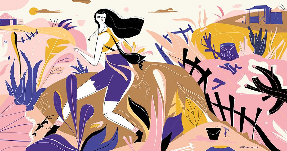 Ilustradora Carolina Altavilla. Rural wild running girl