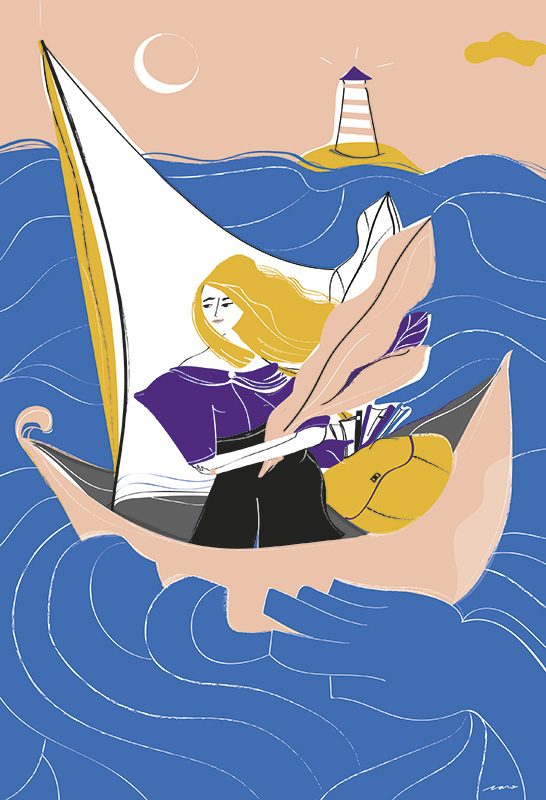 Ilustradora Carolina Altavilla. Travel girl ship lighthouse