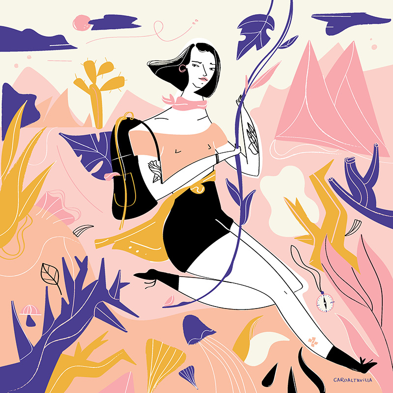 Ilustradora Carolina Altavilla. Woman adventure desert