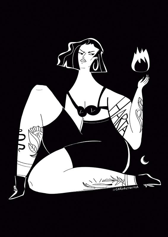ustradora Carolina Altavilla. Woman curvy tattoo