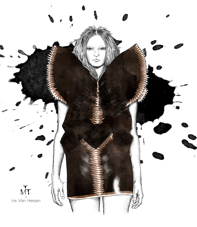 Ilustradora Maribel T Fashion-IrisVanHerpen-ilustracion