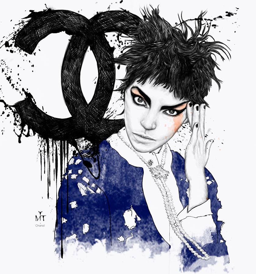Ilustradora Maribel T Fashion-punk-chanel-ilustracion