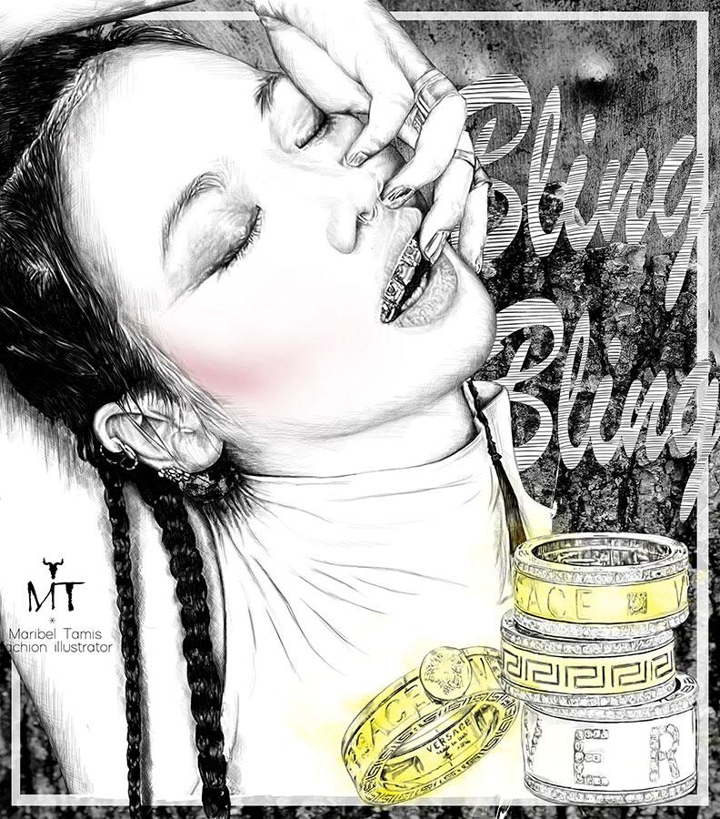 Ilustradora Maribel T fashion-bling-bling-versace-ilustracion