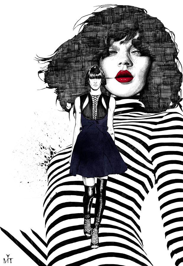Ilustradora Maribel T fashion-surrealrunwey-ilustracion