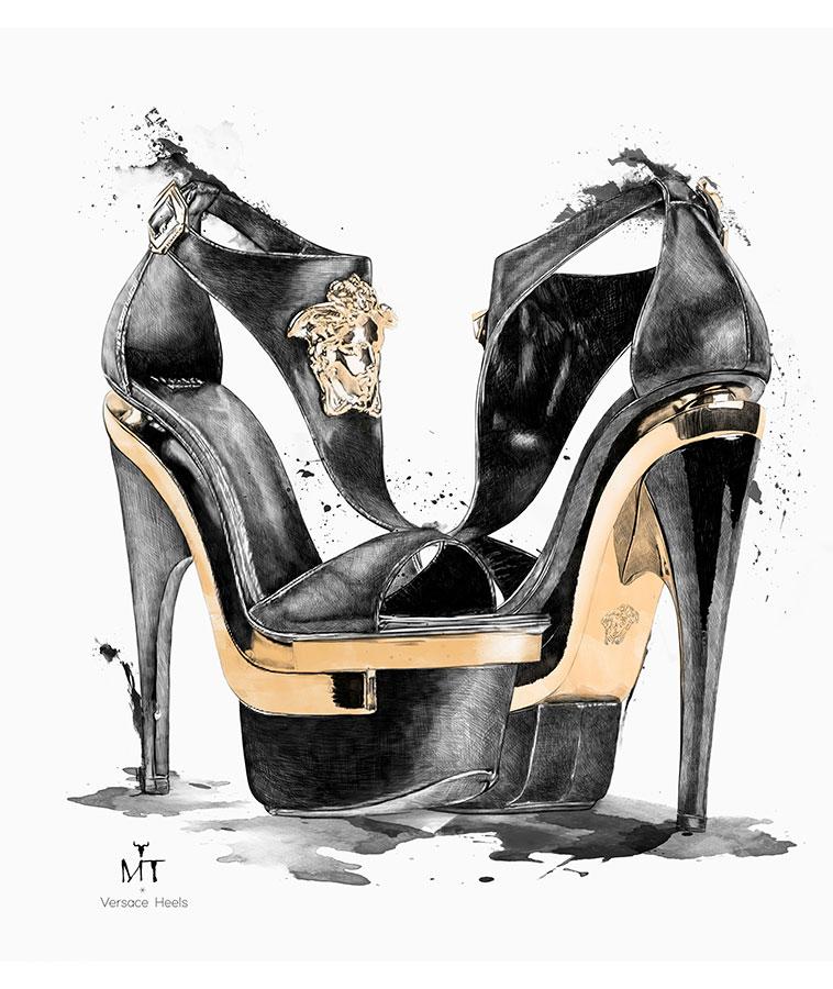 Ilustradora Maribel T fashion-versace-heels-ilustracion