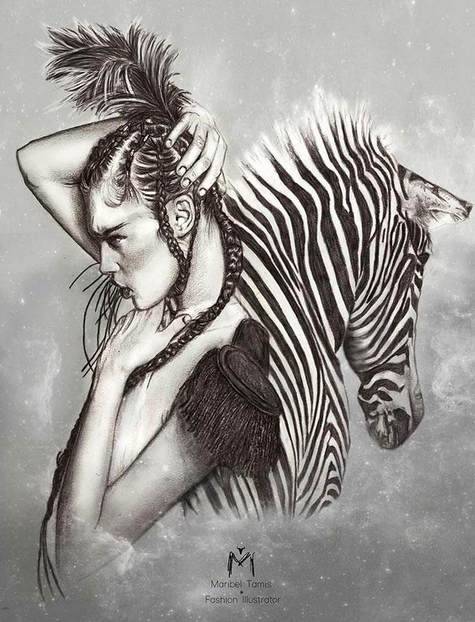 Ilustradora Maribel T girl+cebra-ilustracion