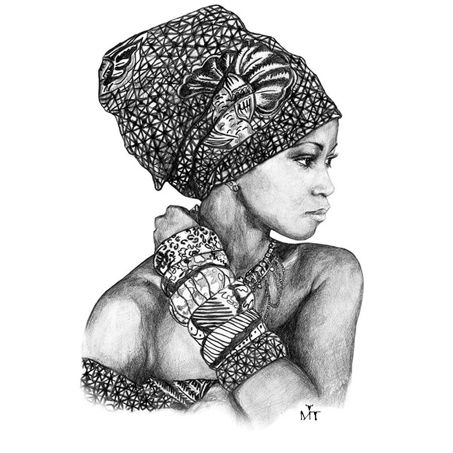 Ilustradora Maribel T woman-africa-ilustracion