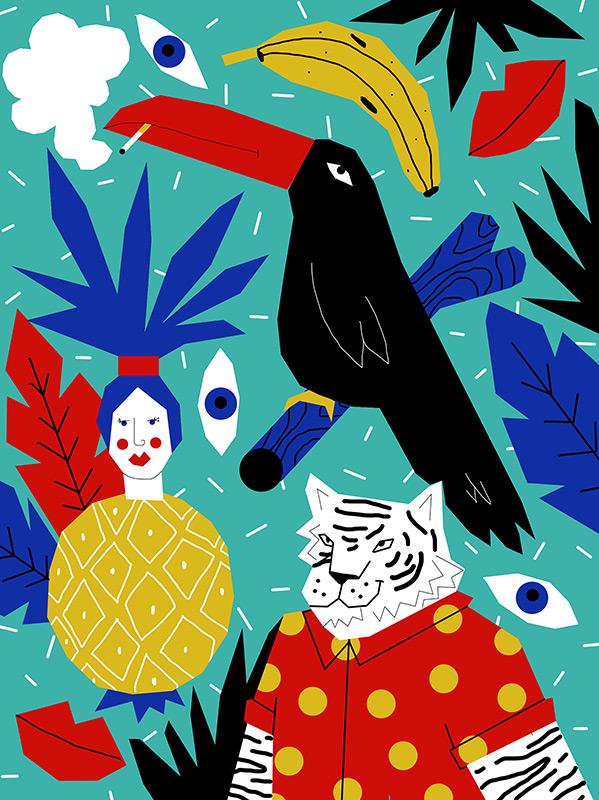 Ilustradora Perrine Honoré, ilustración JUNGLECAM-2