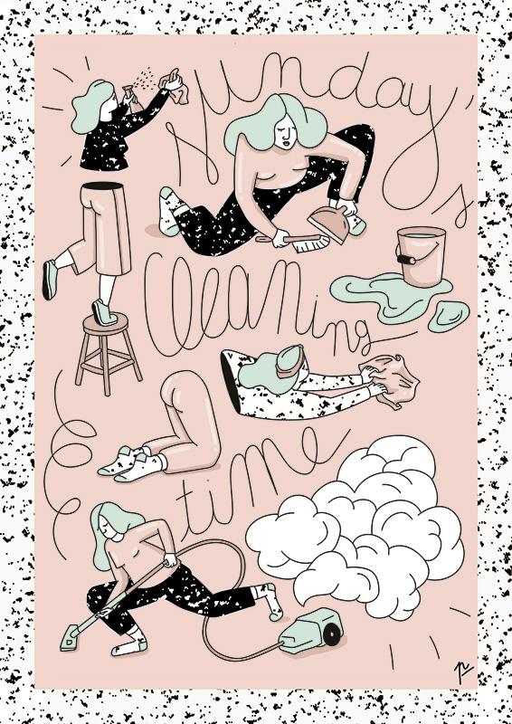 Ilustradora Perrine Honoré, ilustración cleaning sunday