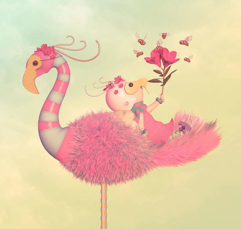Ilustradores Gaby Thiery, flamingo y amiguito