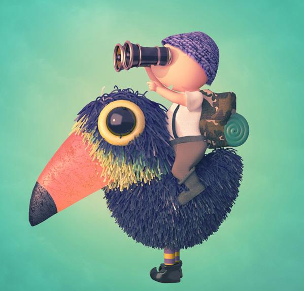 Ilustradores Gaby Thiery, niño con pájaro