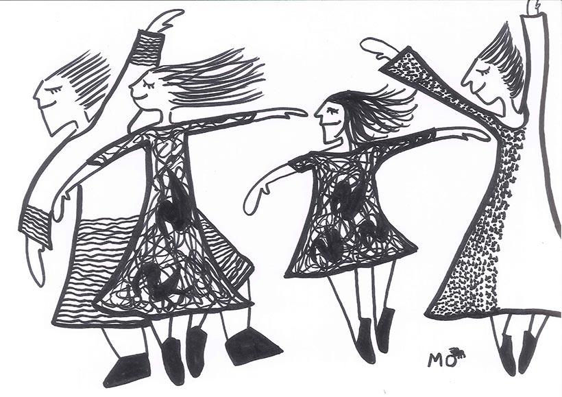 ilustradores mujeres orinicas bailando