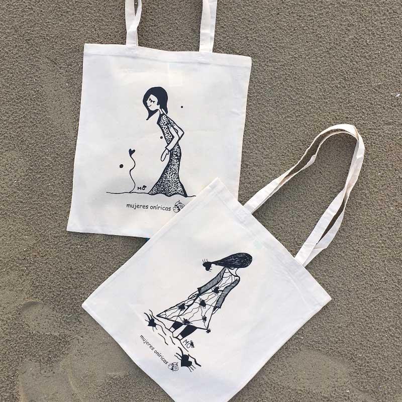 ilustradores mujeres orinicas totebags playa.