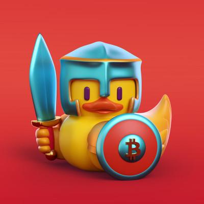 Patito guerrero ilustración 3D