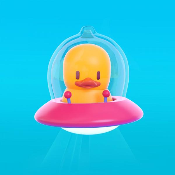 Pato alien ilustración en 3D