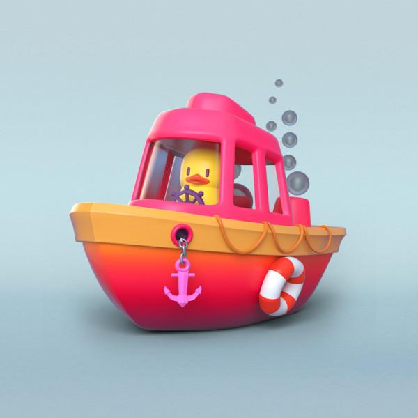 Pato barco ilustración en 3D