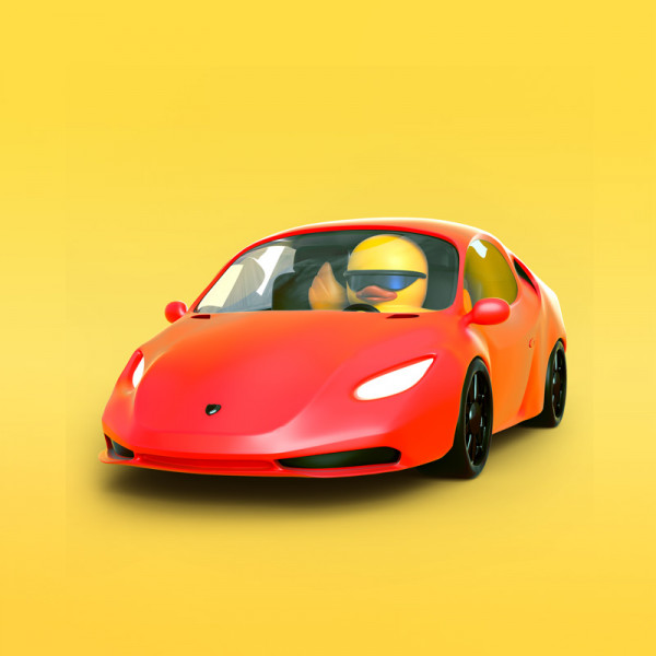 Pato coche deportivo ilustración en 3D