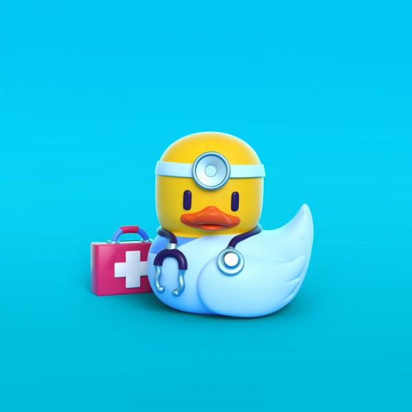 Pato doctor ilustración en 3D