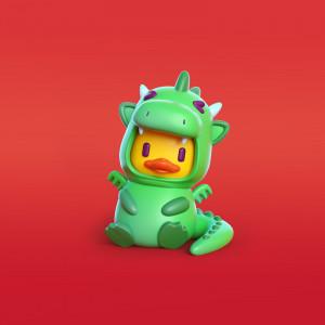 Pato dragón ilustración en 3D