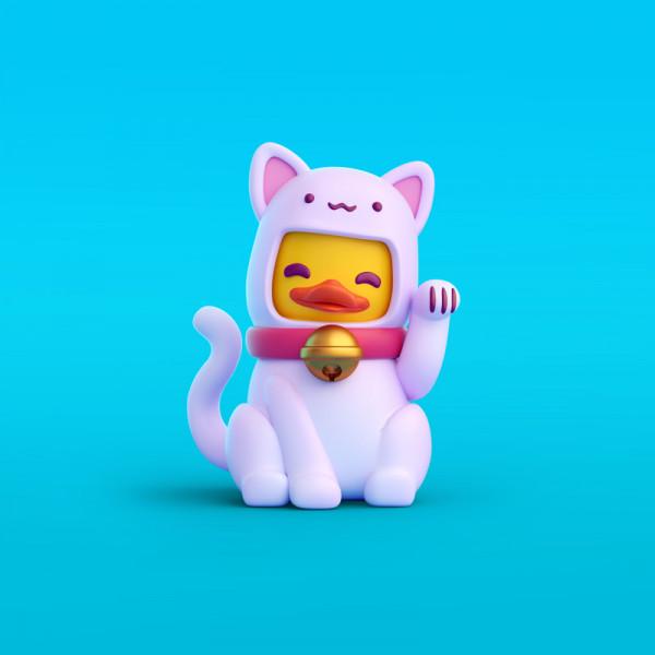Pato makoneko ilustración en 3D