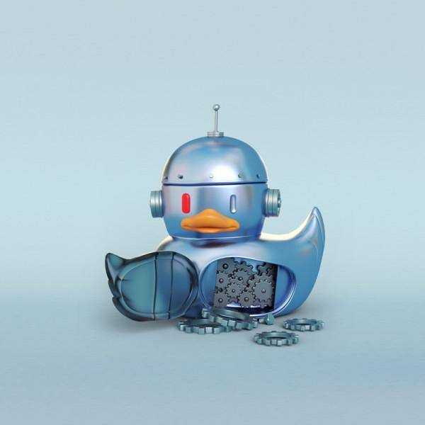 Pato robot ilustración en 3D
