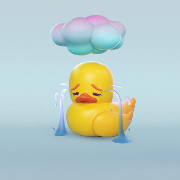 Pato triste ilustración en 3D