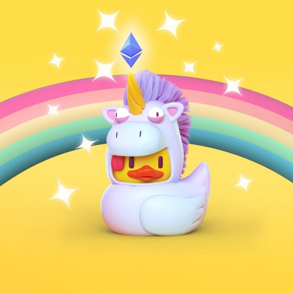Pato unicornio ilustración en 3D