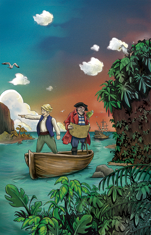 Portada del libro La Isla del Tesoro realizada por la ilustradora Cristina Serrano