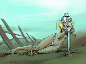 Ilustrador Vicente Fernández, ilustración la guerrera pensativa